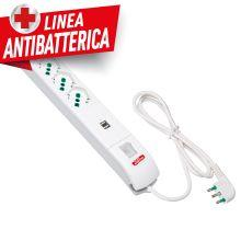 Multipresa Fido bianca con interruttore da S17 a 4 P40 e 2 USB linea antibatterica product photo