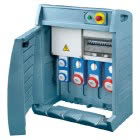 Q-BOX 4 - CON SPINA FISSA - CABLATO - 2 2P+T 16A IEC 309 + 1 3P+T 16A + 1 3P+N+T 16A + 1 3P+N+T 32A - IP55 product photo