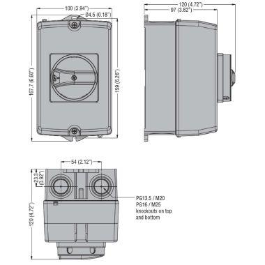 LOVATO GAZ032T4 SEZIONATORE 4P IN CASSETTA AC21A 32A